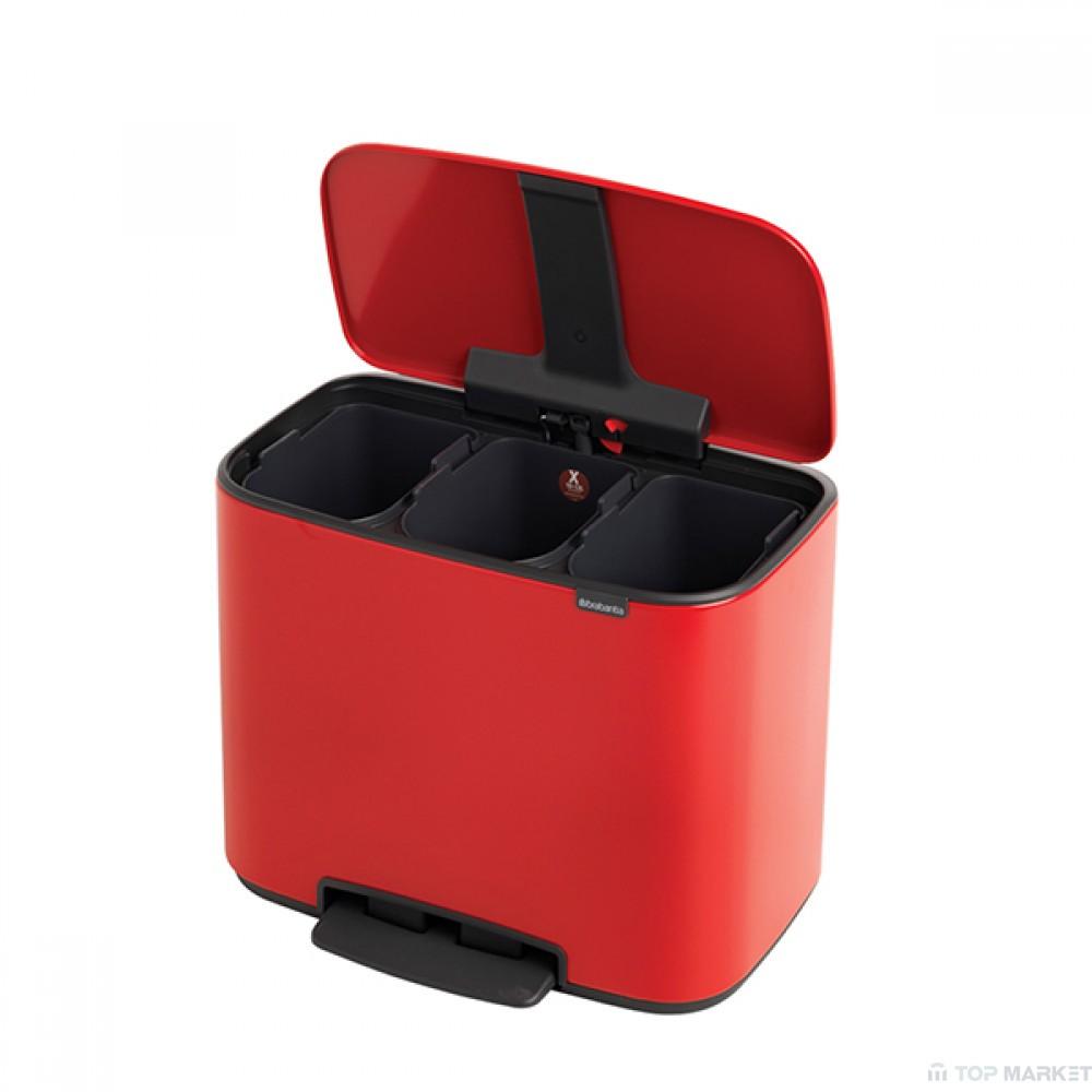 Кош Brabantia Bo Pedal Bin, 3 x 11L, Passion Red