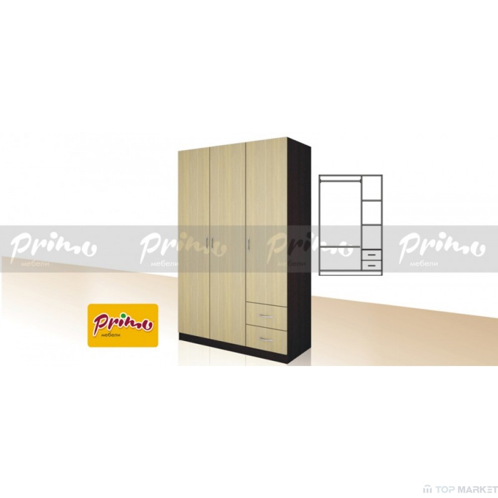 Трикрилен гардероб Primo 13