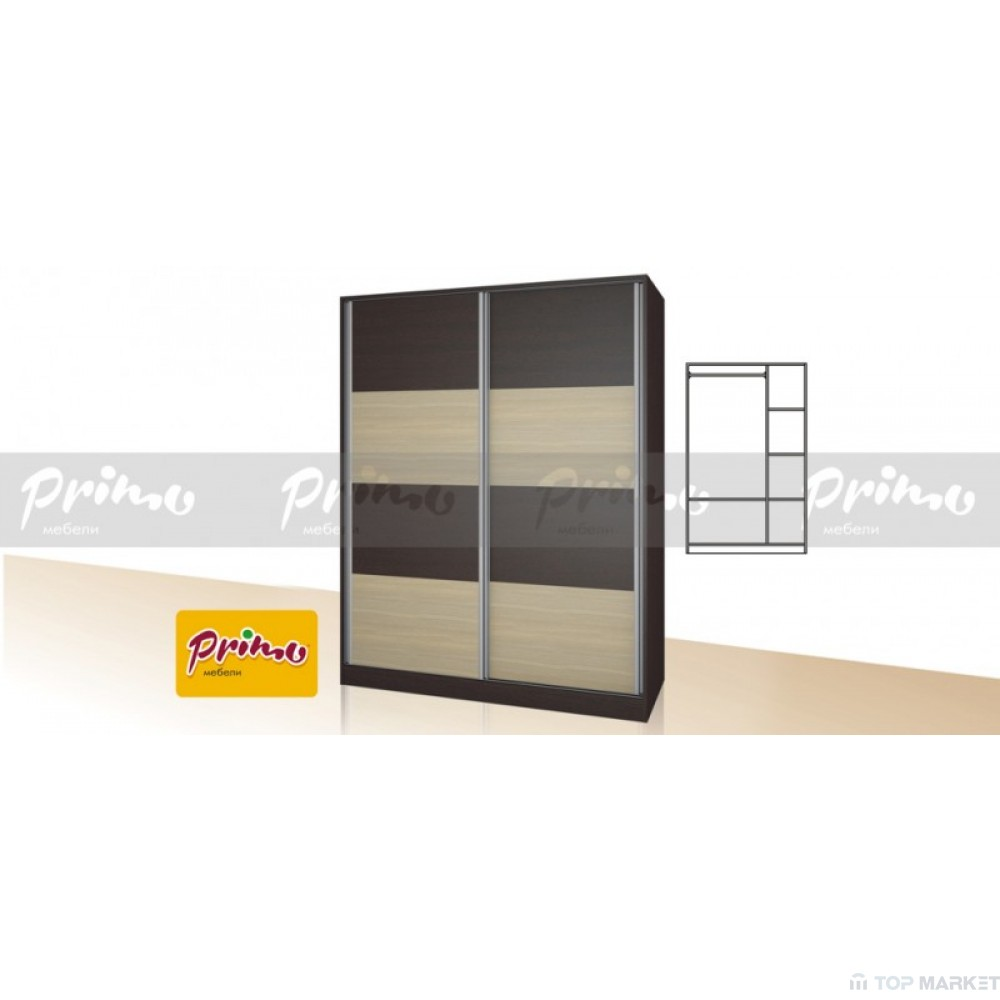 Двукрилен гардероб с плъзгащи врати  Primo 17