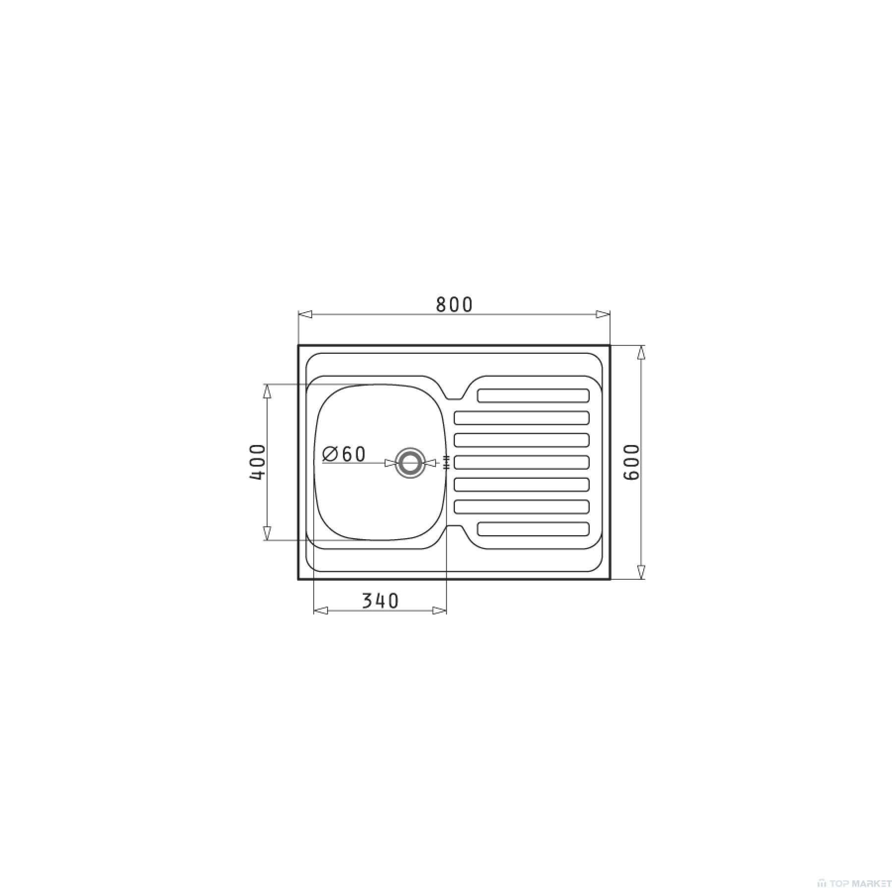 Мивка за вграждане Pyramis International 1B 1D 80x60