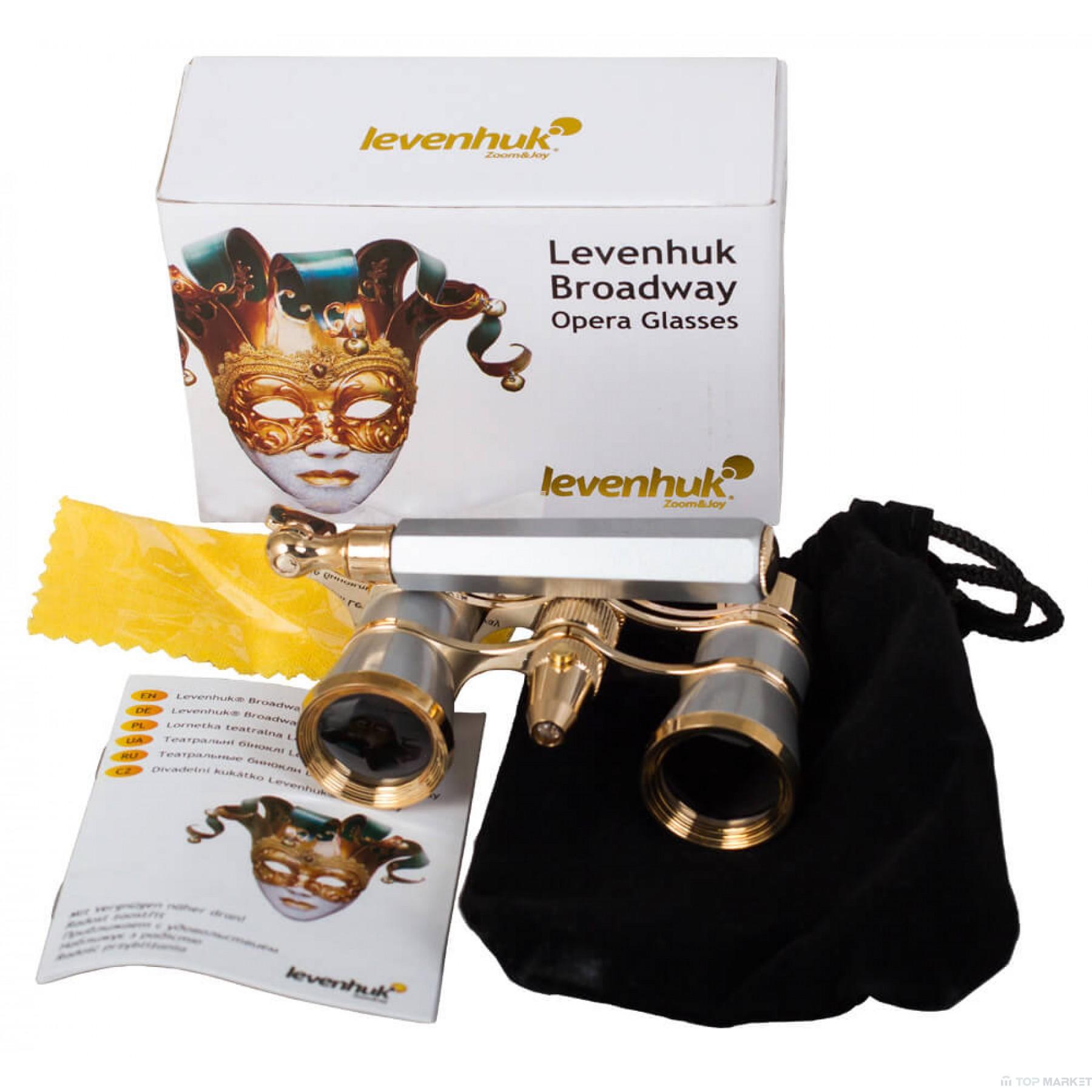 Бинокъл LEVENHUK Broadway 325N Opera Glasses (lorgnette with LED light)