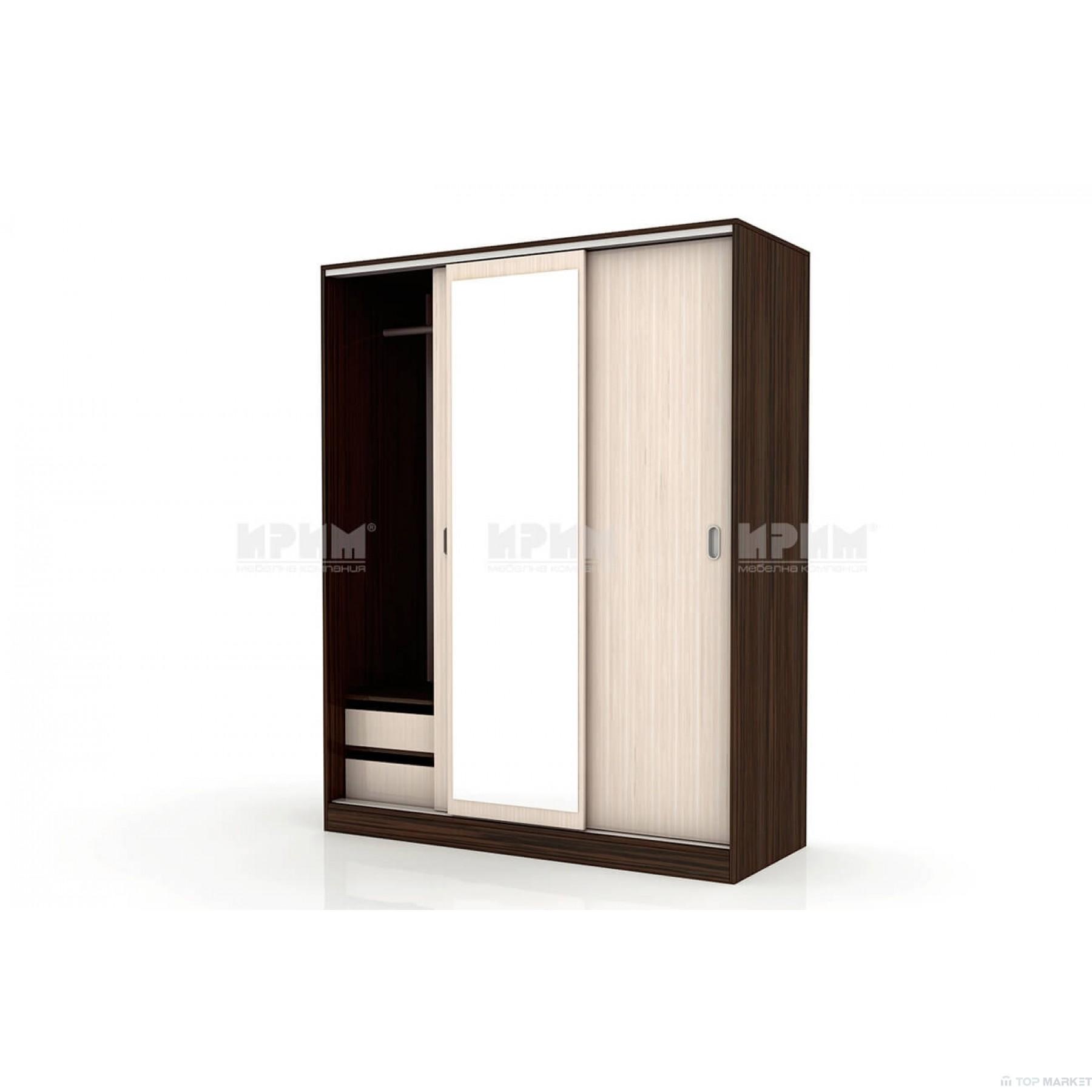 Трикрилен гардероб City 1006 с плъзгащи врати