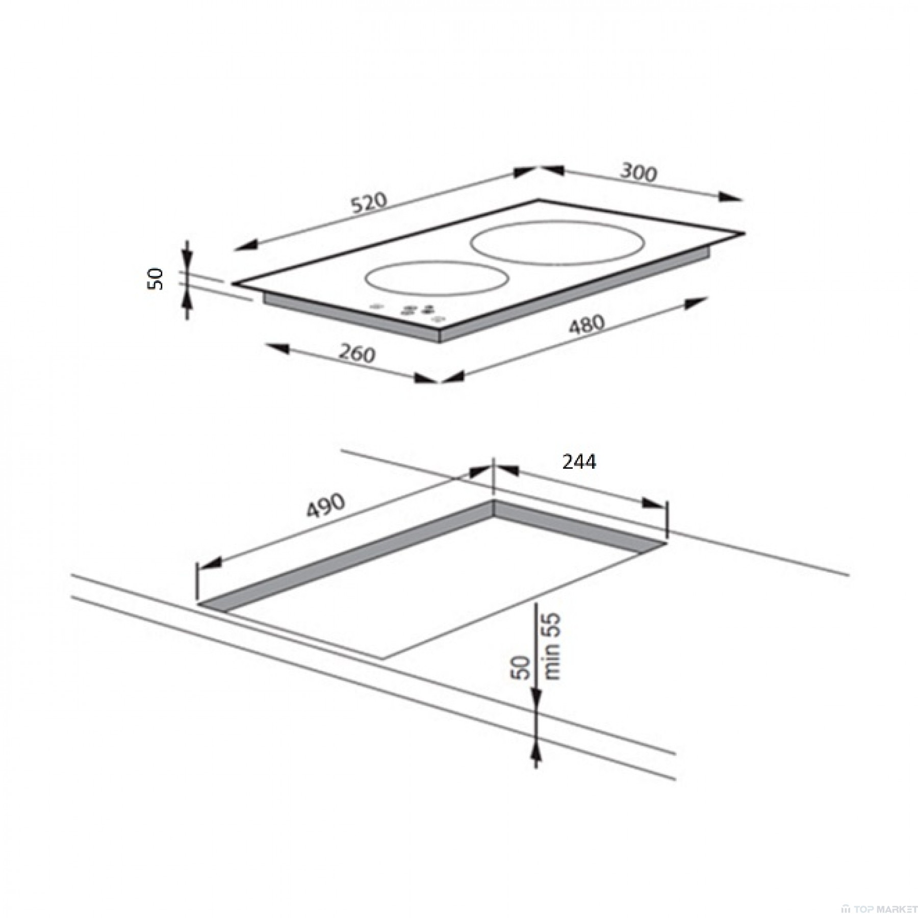 Плот за вграждане Hansa BHII37303 стъклокерамичен индукционен