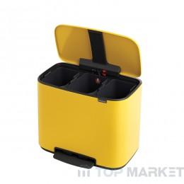 Кош Brabantia Bo Pedal Bin, 3 x 11L, Daisy Yellow