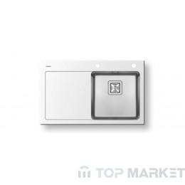 Стъклена мивка Pyramis 1B 1D - бяла 86х53