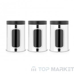 Буркан Brabantia Window, к-т 3бр х 1.4 L Brilliant Steel