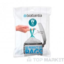 Торба за кош NewIcon Brabantia, размер W, 5L, 60бр, Бял