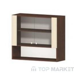 Горен шкаф с две витрини Ирис G58