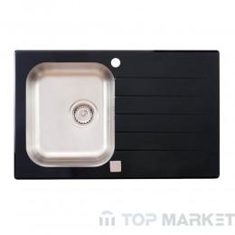 Иноксова мивка Onyx с черно стъкло