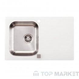 Иноксова мивка Onyx с бяло стъкло